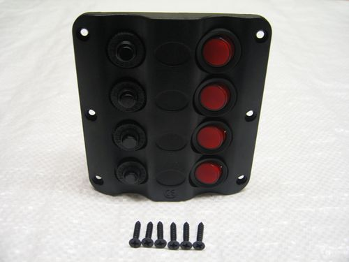 12V 4 Gang Wave Design Switch Panel - Circuit Breakers IP65 Water Resistant